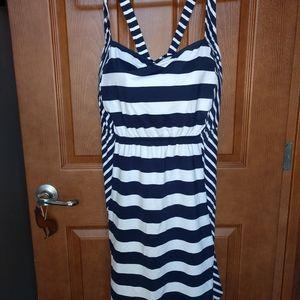 Lands end 26w swim dress stripes navy white